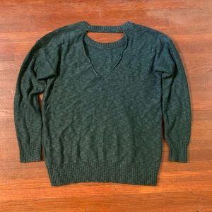 American Eagle Green V Back Sweater Sz S